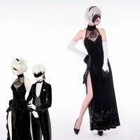 NieR:Automata Cosplay Costume 2B Cheongsam Dress 9S Suit Evening Dress Costme YoRHa Fancy Dress Halloween Wedding Outfit J5