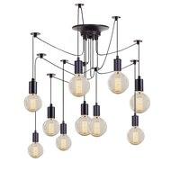 Vintage Chandelier Loft Spider Lustre DIY E27 Adjustable Ceiling Lighting For Kitchen Restaurant Pendant Lamp Fixture