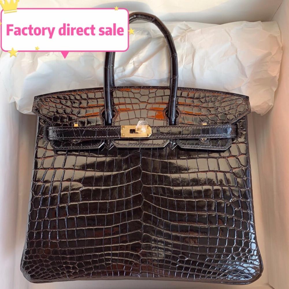 100% натуральная кожа люкс Сумки сумки дизайнер Crossbody сумки для Для женщин известный бренд взлетно посадочной полосы аллигатора Полный ручно
