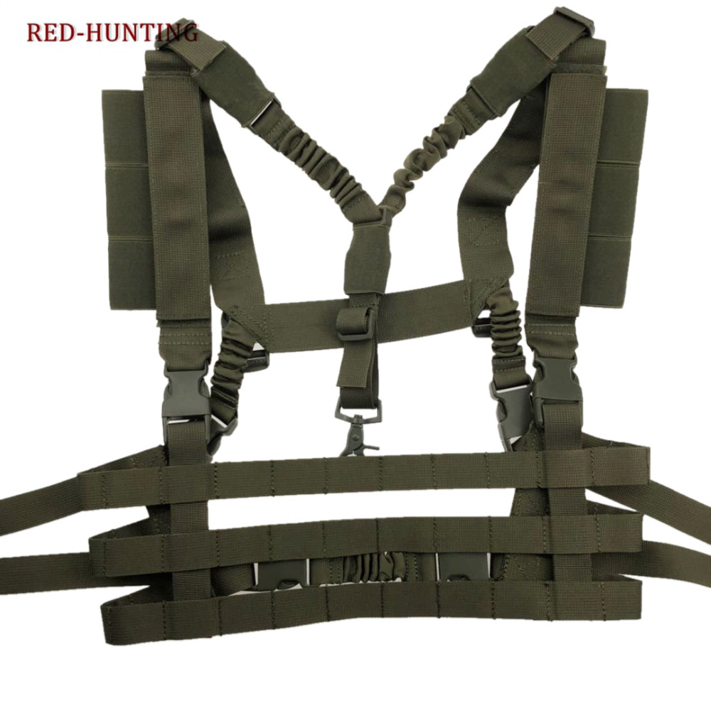 Tactical Vest Military Airsoft Combat MOLLE System Low Profile Chest Rig Multicam Army Green Hunting Vest