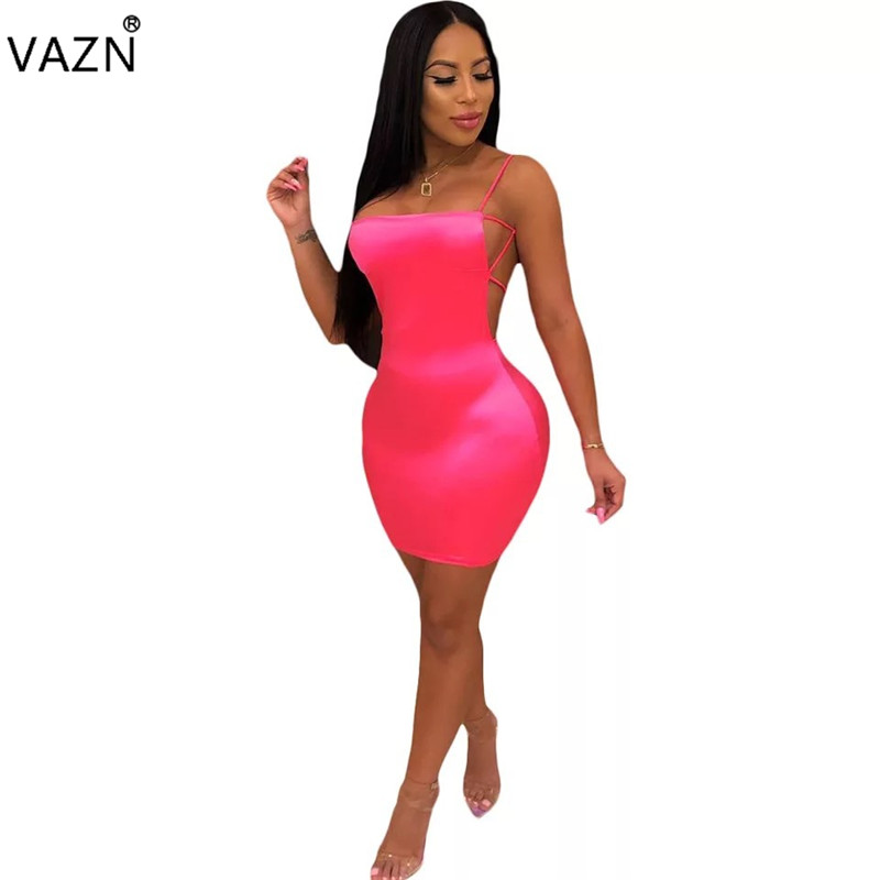 VAZN 2019 <font><b>Sexy</b></font> Club Little <font><b>Chap</b></font> Style Women Strapless Spaghetti Strap Sleeveless Dress Lady Solid Backless Mini Dress MS958 image