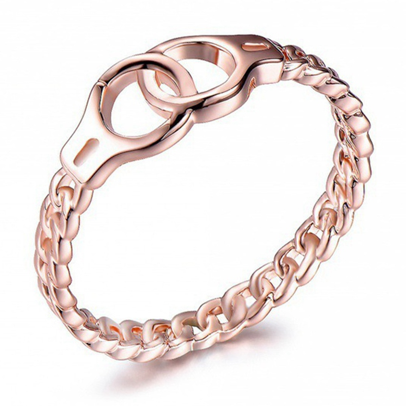 Crossed Wedding Bands.Us 0 79 10 Off 1pcs Chic Link Chain Design Circle Crossed Rings Handcuffs Rings Rose Gold Wedding Bands Boho Jewelry Gifts For Women Men In Wedding
