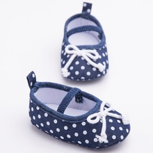 Lovely Newborn Baby Infant Toddler Crib Babe Polka Dots Mary Jane Baby Girls Princess Bow Soft Soled Shoes Crib Bebe Footwear