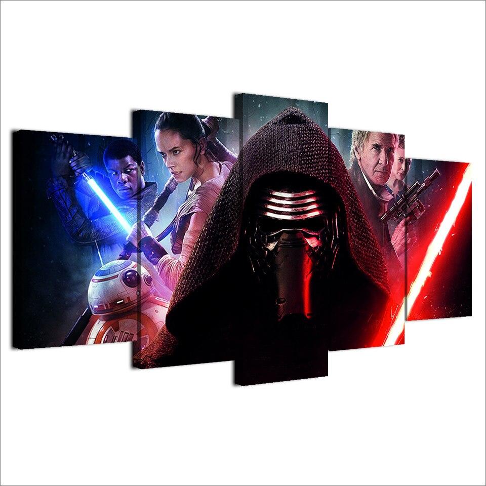 5 Teile/satz Gerahmte HD Gedruckt Star Wars Film Rot Schwert Wand ...