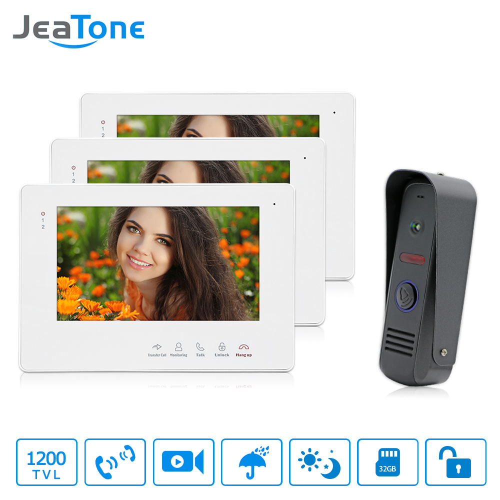 JeaTone 7 Inch Color Display Video Door Phone Doorbell Wired Apartment Audio Visual Intercom Entry System IR Night Camera Kit diysecur 7 4 wired apartment video door phone audio visual intercom entry system ir camera for 6 families