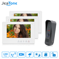 JeaTone 7 Inch Color Display Video Door Phone Doorbell Wired Apartment Audio Visual Intercom Entry System IR Night Camera Kit