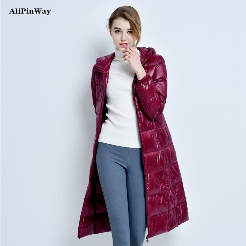 2016 New Winter Casual Ultralight Thick Duck Down Long Coat Women Slim Warm Hooded Jacket Coat Parka Outwear Plus Size 3XL europe new 2015 winter warm long duck down jacket coat women high quality hooded thicken plus size windproof parka ae714