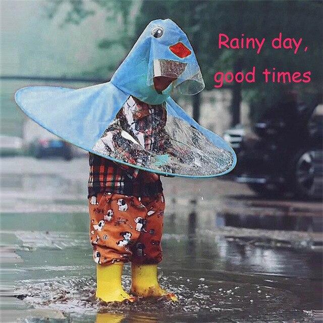 Children UFO Raincoat Cute Duck Rain Coat Umbrella Hat Magical Hands Free  Raincoat impermeable regenjas Dropshipping 4 FG08 b91c2fec0030