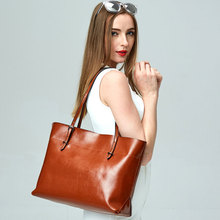 100% Genuine Leather Women Totes Shoulder Bags Real Cow Leather Women's Handbags Vintage Casual Lady Tote Simple Large Bags S20