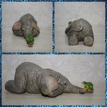 Free shipping Elephant and Frog Figure Resin toy vivid lifelike cute pet animal cake home office car decoration party Lover gift