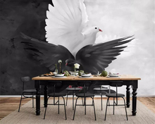 beibehang Custom Mural 3D Personality fashion hand drawn black and white pigeon Photo Wallpaper Living Room tapeta