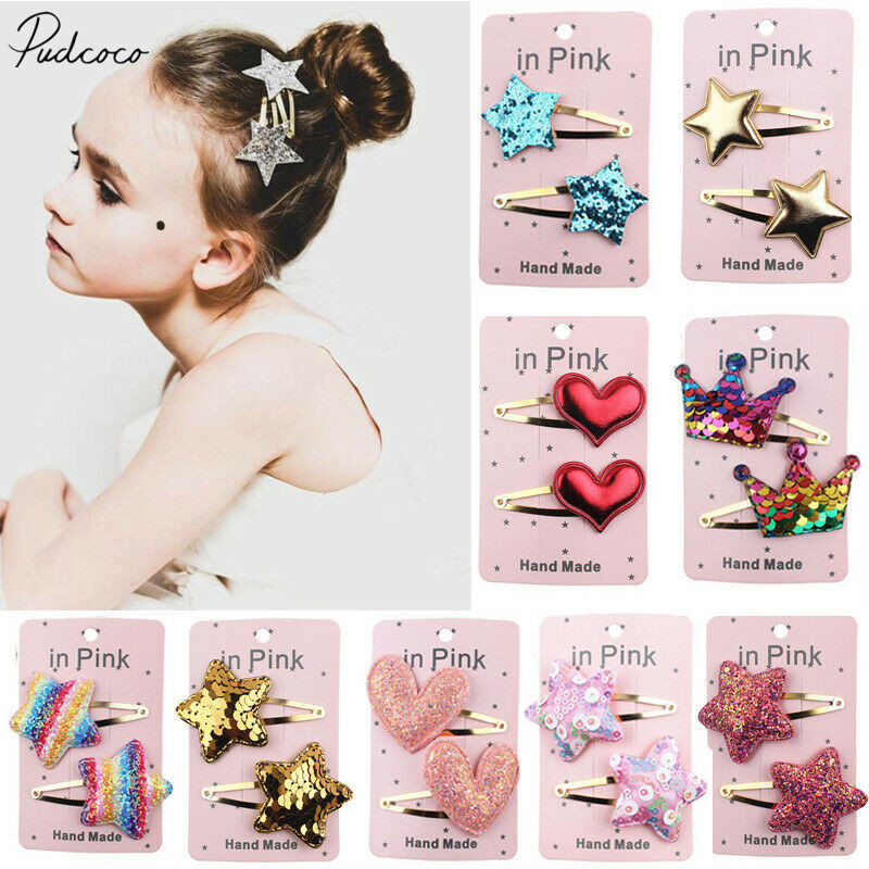 2Pcs Toddler Infant Baby Girls Kids Heart Shape Hairpin Hair Clip Accessories