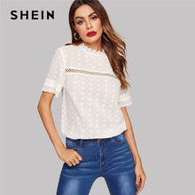 31854d0bf7 SHEIN Eyelet Embroidered Lace Insert Mock Neck Solid Blouse Summer Stand  Collar Bohemian Cotton Women Tops And Blouses