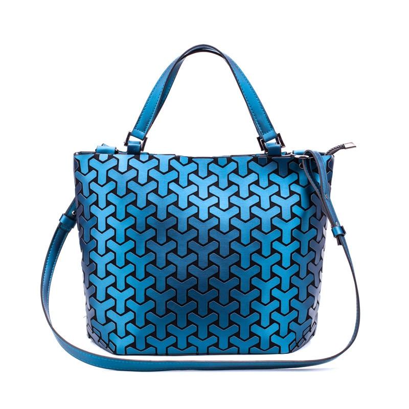 59ff8435bda9 Fashion Women Shoulder Bags Bucket Bag Geometic Sequins Mirror Laser Plain  Folding Bags Luminous Handbags PU Casual Tote Bag