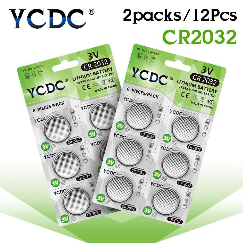 12pcs/2 כרטיסי YCDC 3V CR 2032 סוללה DL2032 5004LC KL2032 ליתיום כפתור סוללה CR2032 עבור שעון מרחוק אלקטרוני