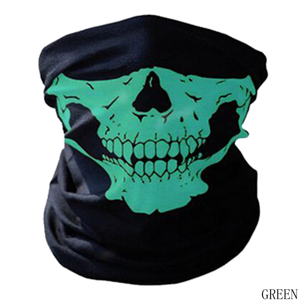 2017 Ghost Scarf Black Skull Half Face Skeleton Motorcycle Scary Horror Party Halloween Mask Gift(China)