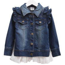 купить Spring female child butterfly sleeve denim outerwear cardigan ruffle hem denim outerwear autumn child Girls jacket по цене 1175.62 рублей