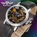 ПОБЕДИТЕЛЬ мода Женщины Luxury Brand Скелет Кожа Леди Часы Автоматические Механические Девушки Наручные Часы Подарочная Коробка Relogio Releges