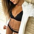 Hot marketing Women Hollow Translucent Underwear Sheer Lace Frenum Strap Lingerie Bra Tops
