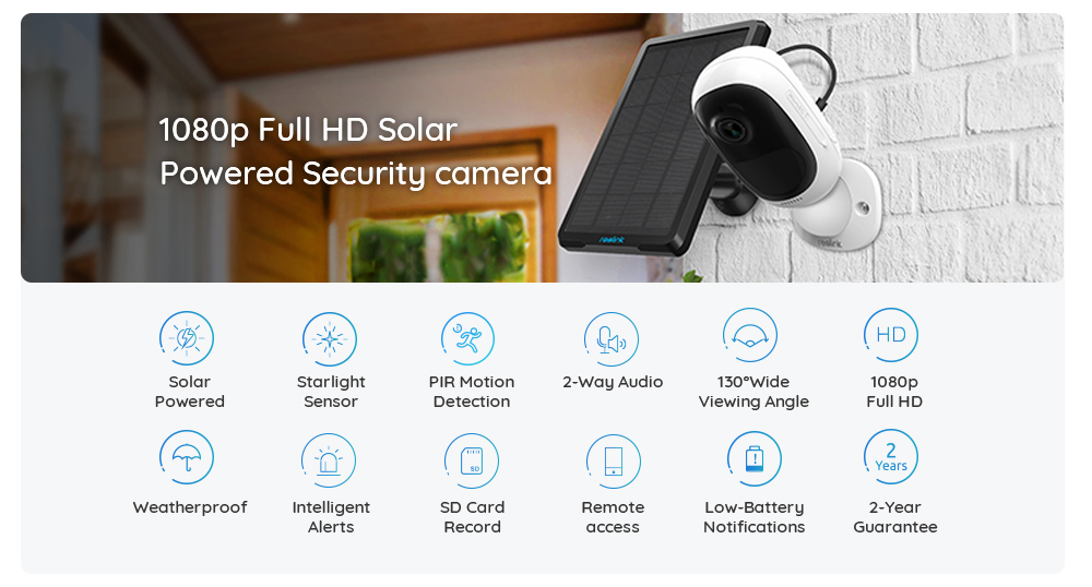 US $113 59 29% OFF|Reolink Argus 2 and Solar panel Continuous Rechargeable  Battery 1080P Full HD Outdoor Indoor Security WiFi Camera 130 Wide View-in