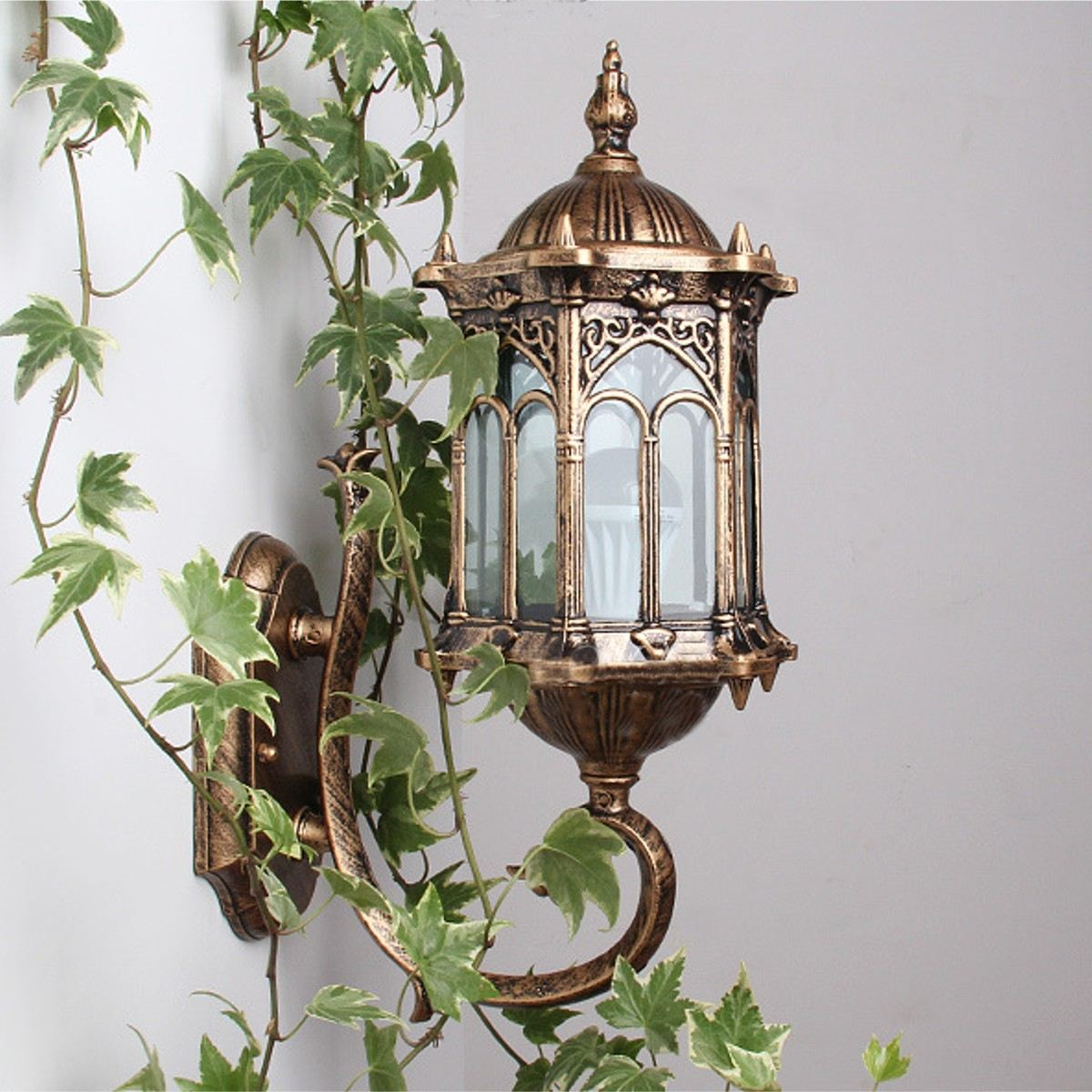 E27 Antique Bronze Outdoor Exterior Lantern Light Sconce Garden Light LED Porch Light Lamp AC220V Wall Lamp one light frosted glass antique rust hanging lantern