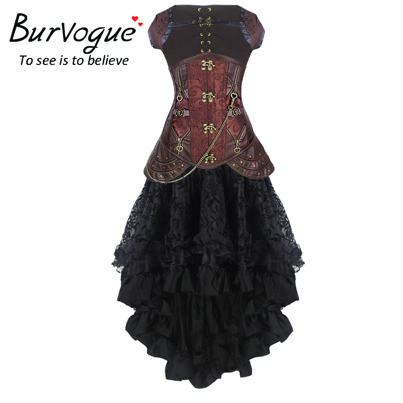 Burvogue femmes Steampunk Corset robe taille haute jupes taille contrôle Corset et sirène jupe robe ensemble Steampunk Corset robe