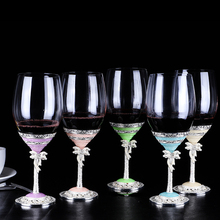 Europe Lead-free crystal glass enamel Wine cup Goblet Champagne Containing pearls wine Party wedding  drinkware