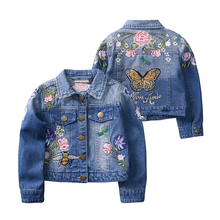 Girls Denim Jackets Coats Fashion Children Outwear Embroidery Sequins Children's Clothing Spring Autumn Kids Denim Coats 2-9 Yrs