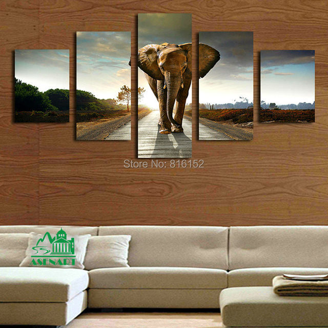 Framed 5 panels elephant canvas print painting wall art picture home living room wall decor - Elephant decor for living room ...