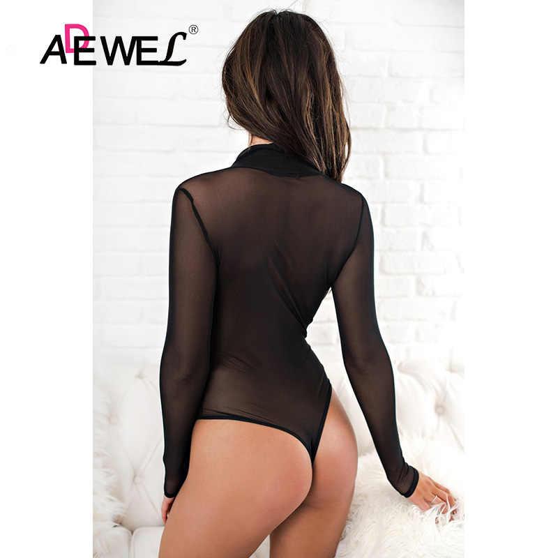 ADEWEL/черное Сетчатое прозрачное женское Облегающее с длинными рукавами боди, сексуальное боди с глубоким v-образным вырезом, боди, комбинезон, комбинезон, Женская Клубная одежда
