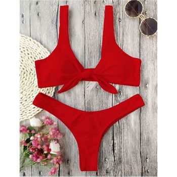 LANGSTAR Bikini Knotted Padded Thong Bikini Set Women Swimwear Swimsuit Scoop Neck Solid High Cut Bathing Suit Brazilian Biquni