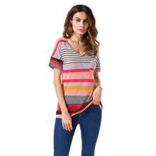 Plus Size Casual Women T-shirt Summer Tops Female Solid Short Sleeve V Neck Rainbow Shirt Fashion Striped Party Beach Shirts H30
