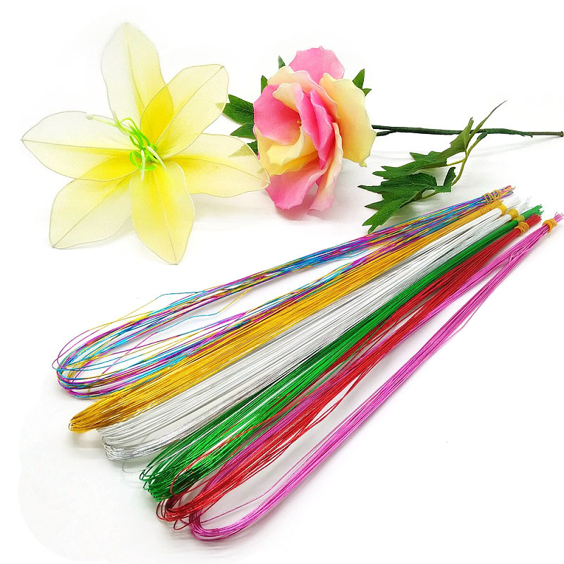 25Pcs 80cm Long Stocking Flower Iron Wire Used For DIY Nylon Flower Making Floral Wire Ronde Flower Material Accessory 0.46mm-in Artificial & Dried Flowers from Home & Garden