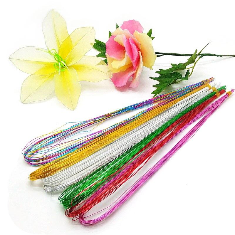 Чулки для цветов длиной 80 см, 25 шт., железная проволока для изготовления цветов из нейлона «сделай сам», аксессуары для цветов круглой формы, ...