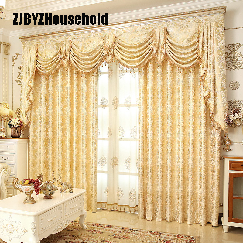Bedroom Window Curtains For Living Dining Room High-grade Contracted Europe Type Shade Valance Custom Wave Golden Customization