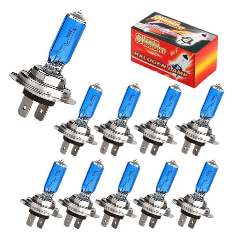 10 шт. галогенные лампы супер яркие H1 H3 H7 H4 H11 HB3 HB4 HB5 9004 9005 9005 9007 белые Противотуманные фары 12 в 100 Вт Автомобильная фара