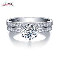 COLORFISH Elegant 1 Carat Round Cut Engagement Ring Set Luxury Women Wedding Jewelry 925 Sterling Silver