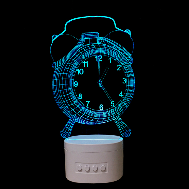 LED Alarm Clock Shape 3D Night Lights Bluetooth Speaker Music Lamp 5 colors Change Decorations lights Creative Gifts