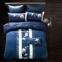 Classical Luxury Silk Bamboo Fiber Bedding Sets Flower Pattern Deep Blue Solid Linens Queen King Size