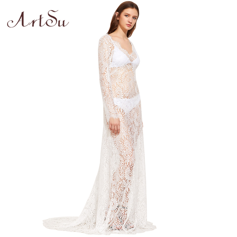 ArtSu 2017 Women Elegant Lace Long Dress Sexy Maxi See Through Floral V Neck Evening Party