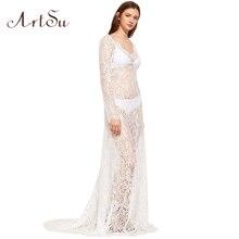 Арцу 2017 женщин элегантное кружевное длинное платье пикантные Макси See Through цветочные v-образным вырезом Вечеринка летние платья vestidos ASDR20034