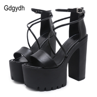 Gdgydh Platform Shoes For Summer Extreme High Heels Sandals Open Toe Fashion Buckle Block Heels Punk Black Leather Good Quality