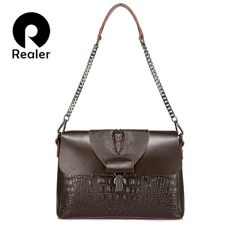 REALER сумка женская через плечо из сплит кожи с крокодиловым принтом высокого качества, дамская сумка с цепочкой, сумка на плечо ремне,мален...