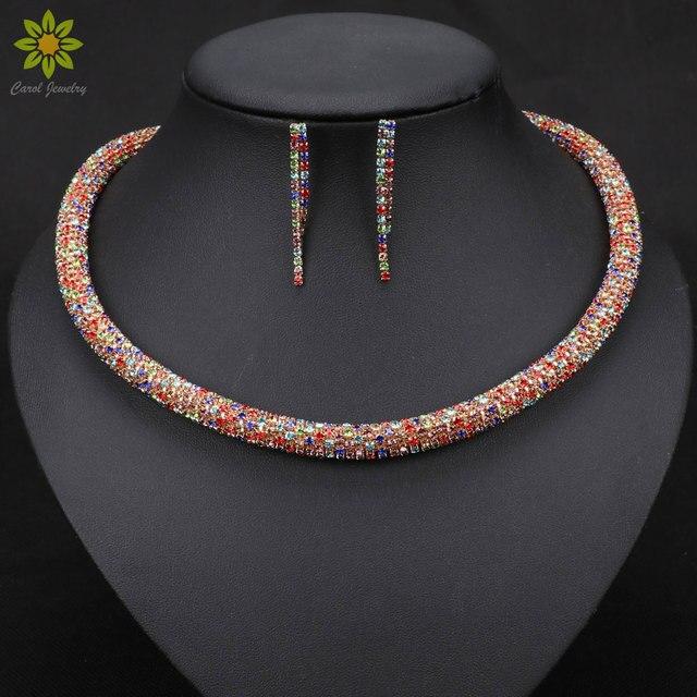צבע זהב אוסטריה קריסטל תכשיטי עגילים ושרשרת סטים לנשים אפריקאי קסם חרוזים אבזרים