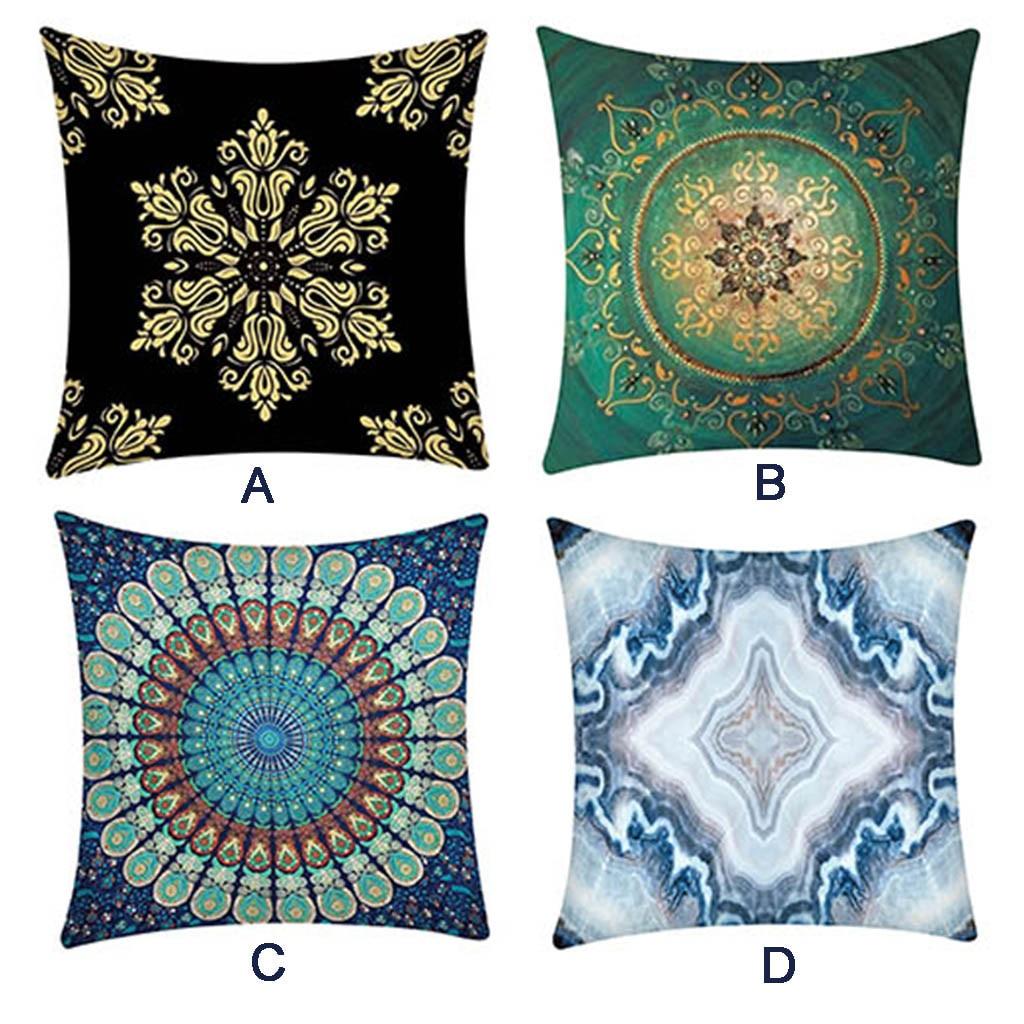 Geometric Design Blue Cushion Cover Needlepoint Tapestry Handmade 15 mesh gauge