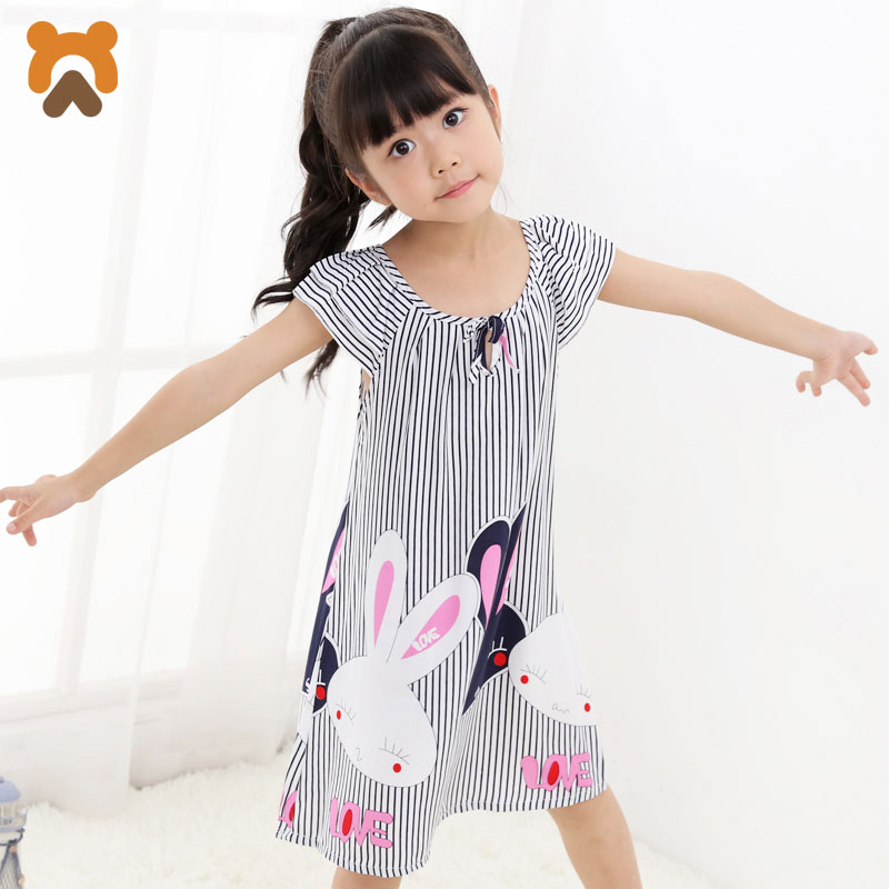 Girls Princess Nightgowns Summer Short Sleeve Striped Cartoon Nightdress Knitted Pajamas Sleepwear Children Kids Girl Nightgown spring new women long dress nightgowns white short sleeved nightdress royal vintage sweet princess sleepwear dress free shipping