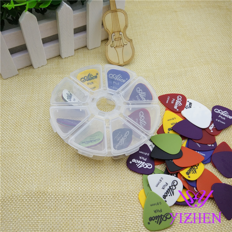 40 pieces Alice Celluloid Guitar Picks + 1 Storage Box Thickness 0.46 0.71 0.81 0.96 1.2 1.5 mm Mix Mediator Free Shipping