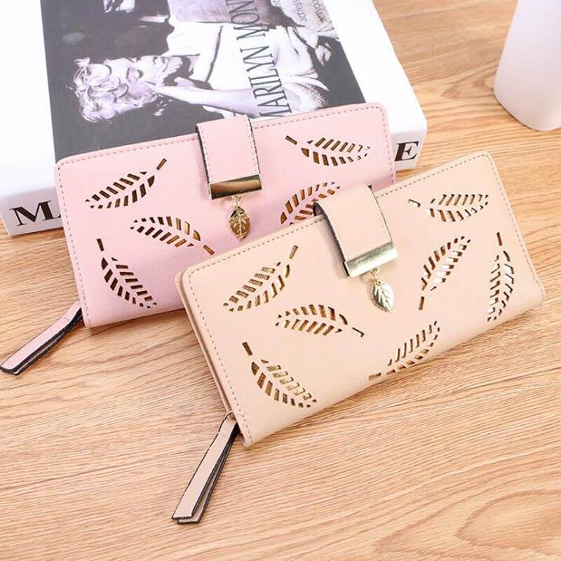 Women Wallet PU Leather Purse Female Long Wallet Gold Hollow Leaves Pouch Handbag For Women Coin Purse Card Holders Clutch Кошелёк
