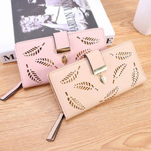 Women Wallet PU Leather Purse Female Long Wallet Gold Hollow
