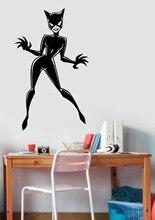 Modern Cat Superhero Woman Wall Decal Removable Stickers Vinyl Art For Girls Bedroom Playroom Mural Decor DIY StickerSYY901